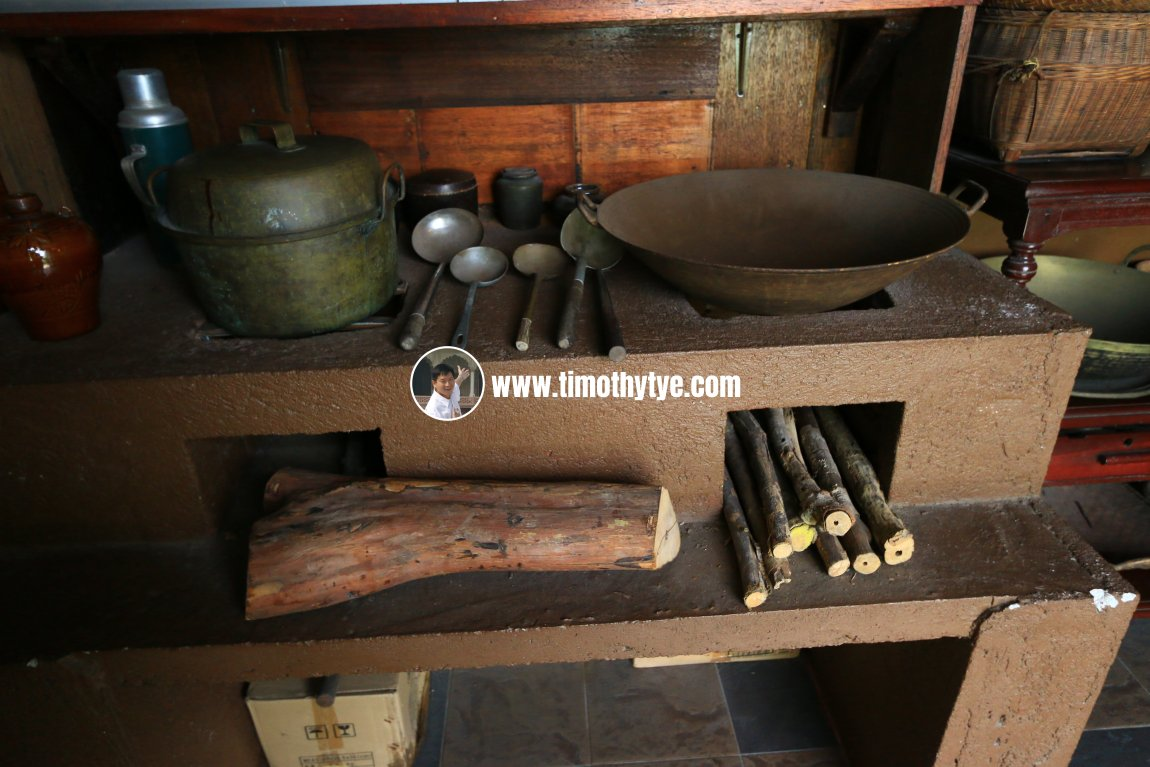 Wood stove kitchen at Heritage House, Gopeng