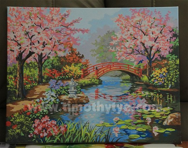 cherry blossoms after completing two paintings with animal themes the next canvas my wife tackled is a scenery it appears to be a japanese garden in full - Japanese Garden Cherry Blossom Paintings